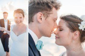 verliebtes Brautpaar am Meer.