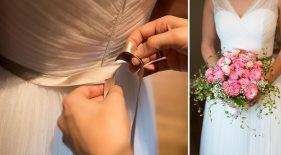Brautkleid mit Brautstrauß. Detailaufnahmen