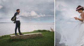 Brautpaar an der Küste von Rügen. Einzelportraits