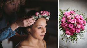 Brautpaar setzt Blumenkranz auf beim Getting Ready.