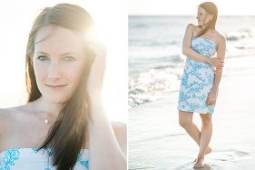 schöne Frau im Strandkleid am Meer in Florida.